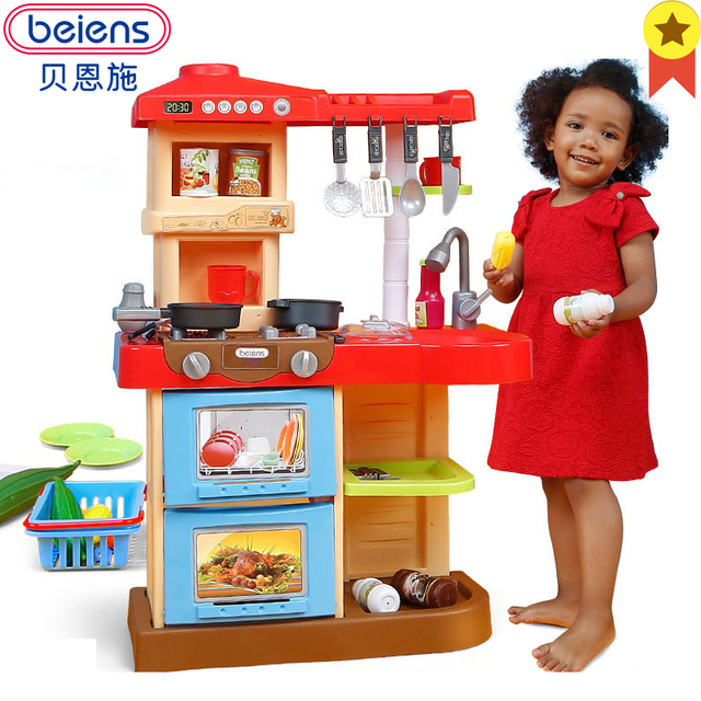 Beiens Kitchen Toys Plastic Kids Cooking Toy Educational Children Play Set With Faucet Size Pretend
