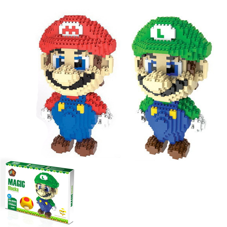 BIG SIZE Super Mario Bros Blocks Diamond Luigi Mario Building Blocks Action Figure toys 3D Model Bricks Toy lno big size super mario bros model action figures nano block micro diamond plastic building blocks diy bricks toys without box