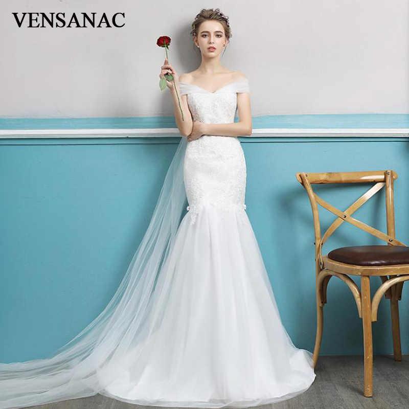 VENSANAC 2018 מתוקה תחרת אפליקציות לטאטא רכבת בת ים שמלות כלה פניני קצר שרוול קשת ללא משענת כלה שמלות