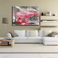 100 Handpainted Landscape Wall Artwork Hand Painted Islamic Painting Red And Grey Storm Oil Painting On
