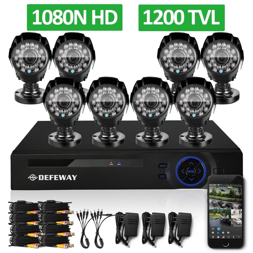 Defeway 1200tvl 720p hd outdoor surveillance security camera system 8 channel 1080n...
