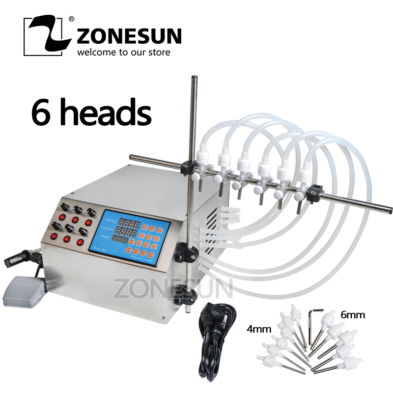 ZONESUN Electric Digital Control Pump Liquid Filling Machine 3-4000ml For Bottle Perfume Vial filler Water Juice Oil With 6 Head zonesun pneumatic a02 new manual filling machine 5 50ml for cream shampoo cosmetic liquid filler