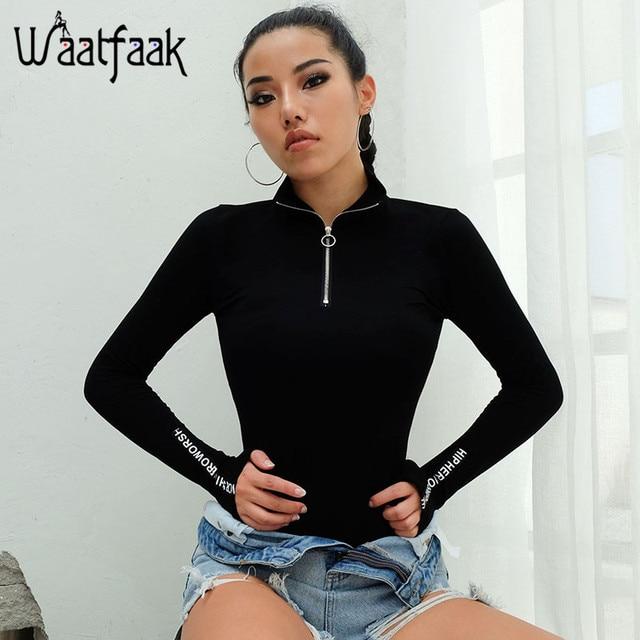 a0e60d1132 Waatfaak Black Long Sleeve Bodysuit Women Front Zipper Bodysuit Patchwork  Letter Printed Turtleneck Casual Bodycon Jumpsuit