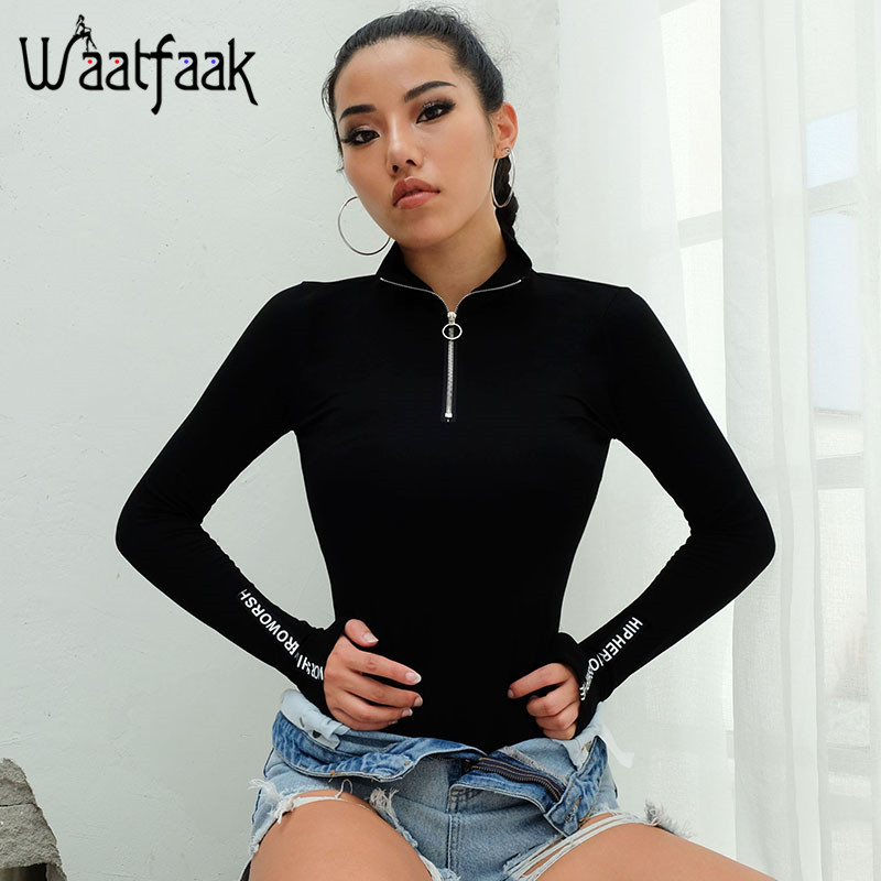 Waatfaak Black Long Sleeve Bodysuit Women Front Zipper Bodysuit Patchwork Letter Printed Turtleneck Casual Bodycon   Jumpsuit   2018