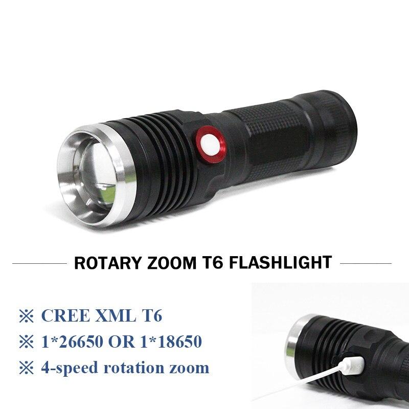 Puissant zoom lanterne CREE XM L2 USB lampe de poche 26650 OU 18650 batterie rechargeable étanche Portable led Torche
