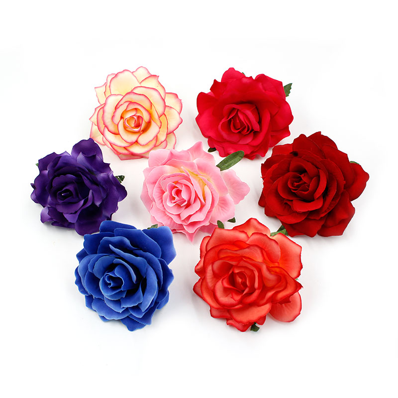 20pcs/lot 10cm Big Silk Blooming Roses Artificial Flower Head For Wedding Decoration DIY Wreath Gift Scrapbooking Craft Flower
