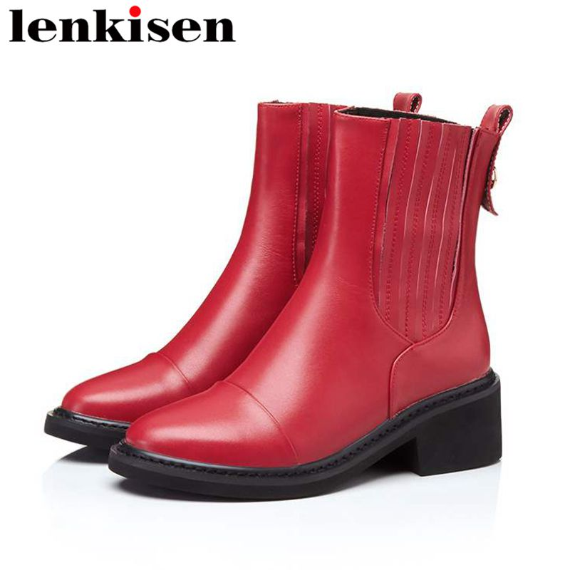 Lenkisen natural leather slip on round toe square med heels free shipping movie stars runway women winter autumn ankle boots L99