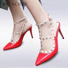 plus size 34-47 Fashion women pumps design rivets women sandals high heels summer Sexy Pointed Toe Party bridal Wedding shoes цены онлайн
