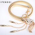 IFENDEI Cintos Hot Fox Cadeia Cinto de Ouro das Mulheres Elastic Estiramento Bracelete de Metal Prata Ajustável Cadeia de Luxo Ceinture Cintura Vestido