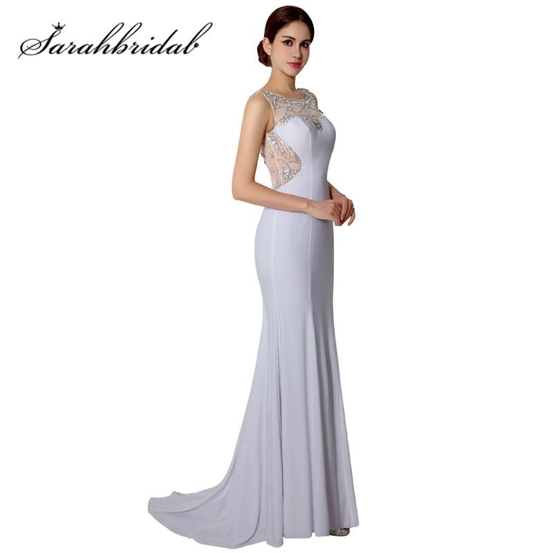 de3dd000e Blanco gasa elegante Formal vestidos de noche caliente atractivo rajó  opacidad largo vestido de baile trajes de fiesta mujer AJ022 en Vestidos de  noche de ...