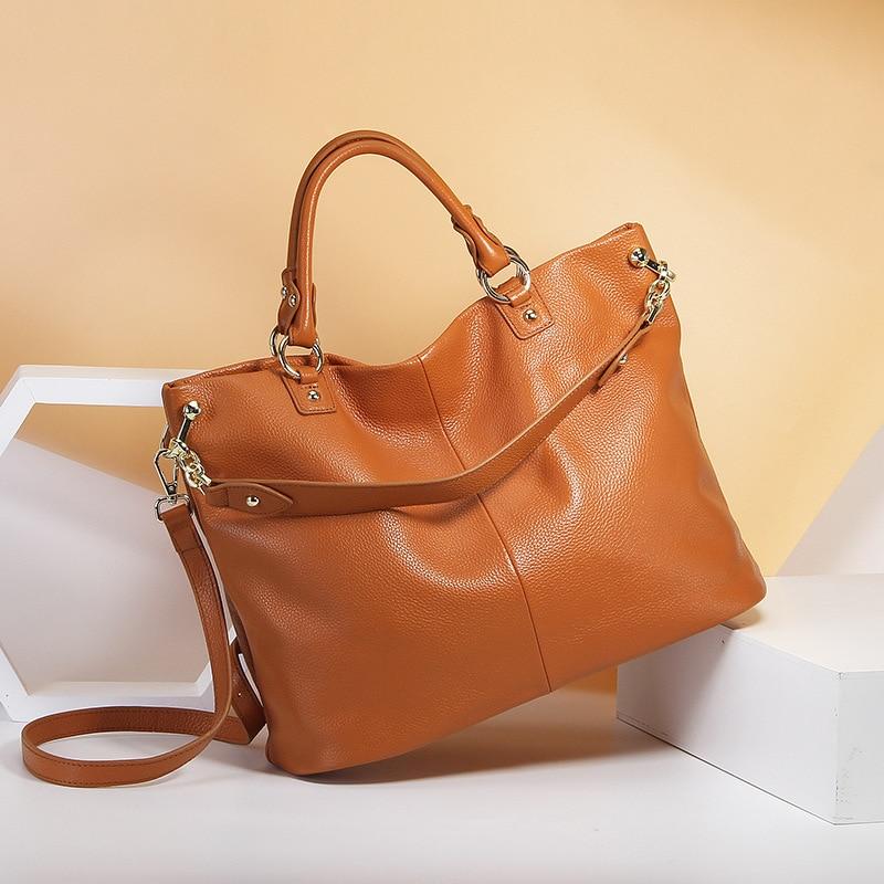 Real Cow Leather Grey Handbag Brown Women Casual Tote Large Capacity Lady Crossbody Messenger Purse Black Hobos Bags