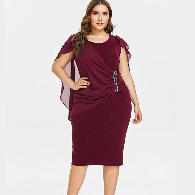 Wipalo Plus Size 5XL Capelet Knee Length Fitted Party Dress Women Sleeveless Scoop Neck Sheath Dress Rhinestone Overlay Vestidos