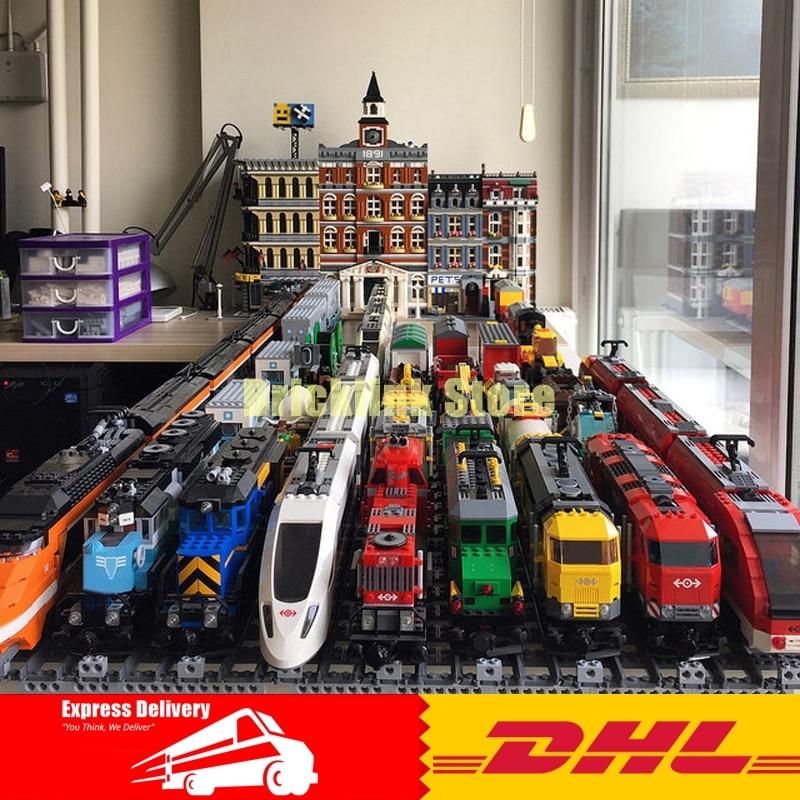 DHL LEPIN 02008 02010 02009 21005 21006 21007 02038 02039 Train Blocs Buillding les Briques Compatible Legoinglys 60052 60098 60051