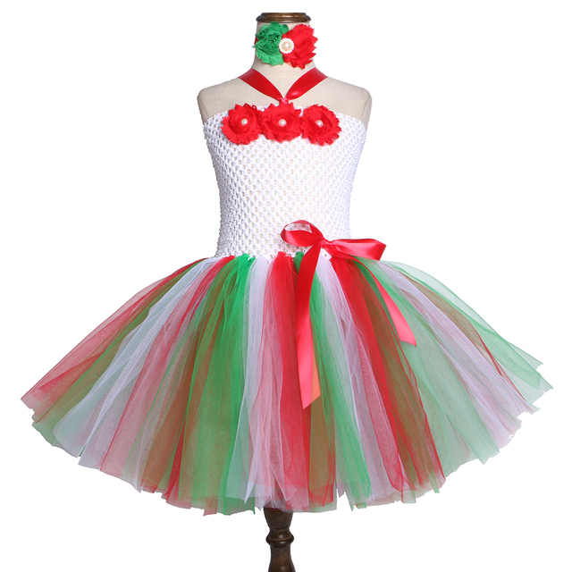 f9d580b2343b Princess Girls Christmas Tutu Dress Costume with Headband Tulle Flower Kids Tutu  Dresses for Girls Xmas Christmas Party Clothes