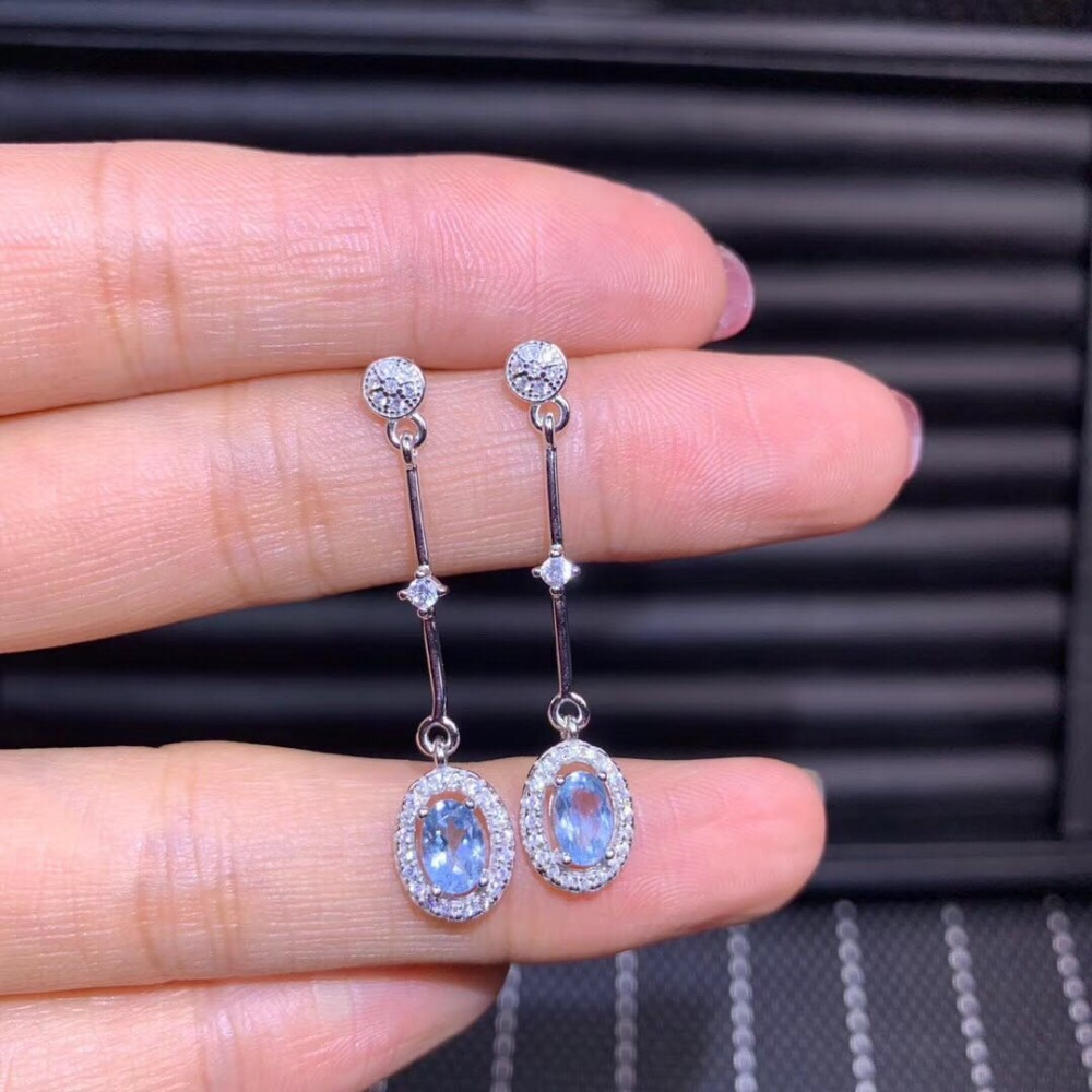 New Arrival White zircon and nature aquamrine Silver Jewelry Women Drop Shaped Long Earring with 925
