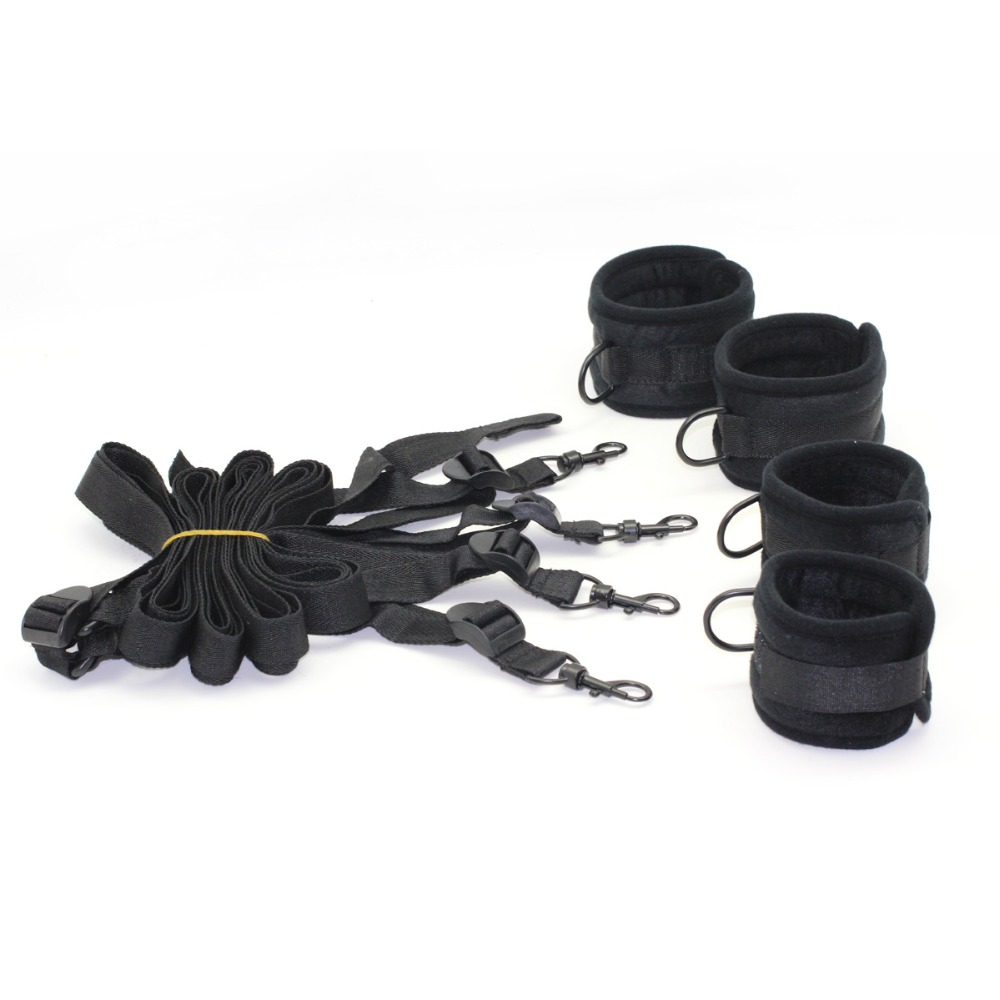 SMspade Black Super Soft Bondage  Restraints Kit:sex Handcuffs, Ankle Cuffs,adult Sex Restraint System Sex Products For Couples