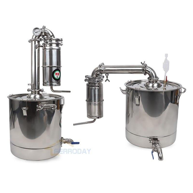 2018 Nouveau Acier Inoxydable Moonshine Accueil Alcool Distillateur 50L Vin Brassage Dispositif Spiritueux Alcool Distillation Chaudière