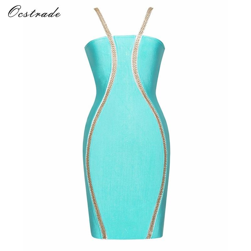 Ocstrade High Quality Women Fashion 2017 Bandage Dress New Arrival Elgent Light Blue Chain Embellished Bandage