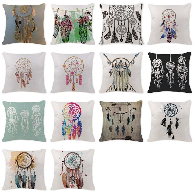 High Quality Cushion Covers Dream Catcher Pillow S Car Large Cotton Linen Home Decorative White