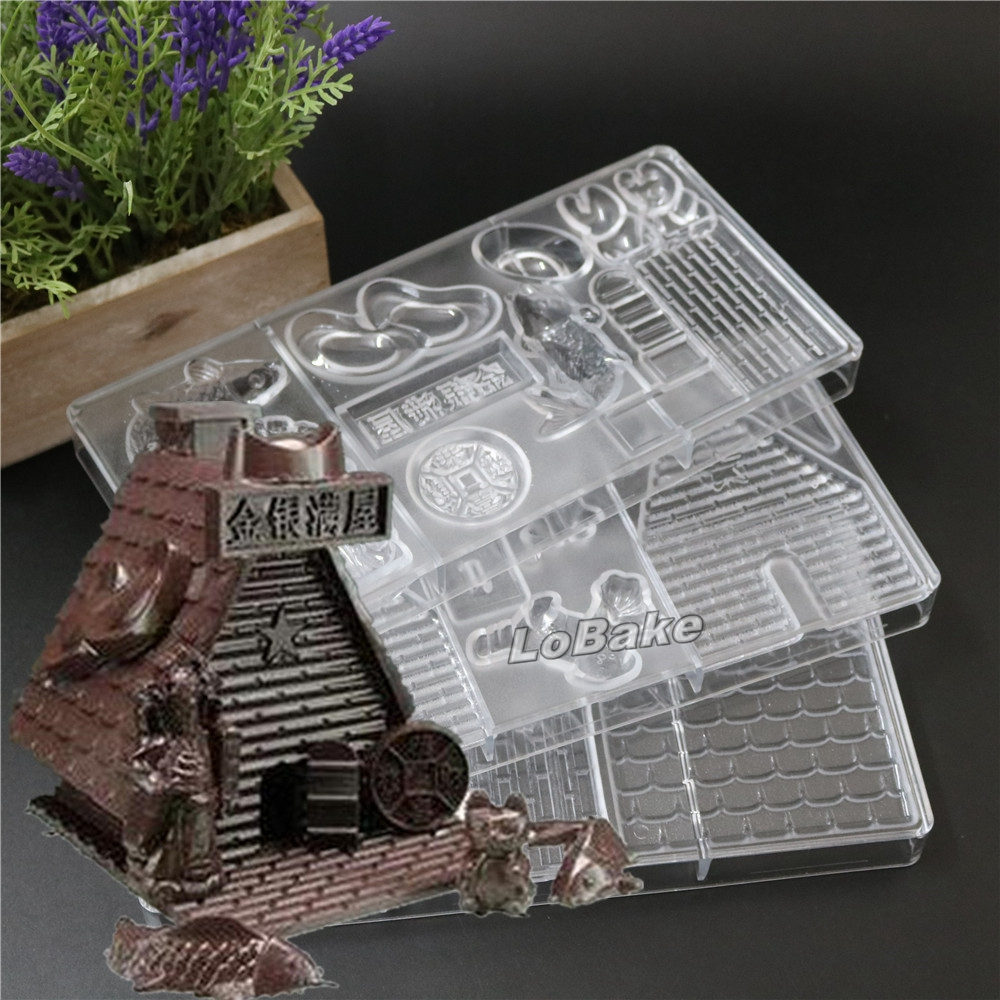 Home & Garden Unique 3 In 1 House Shape With Chinese Words Jin Yu Man Tang Pc Chocolate Cake Mold For Diy Bakery Accessories 3pcs/set