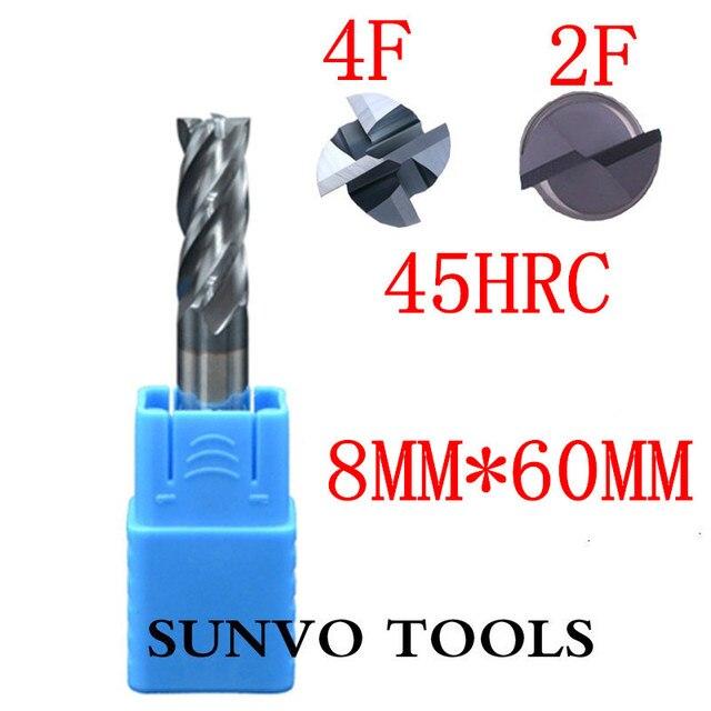 3PCS 2/4 flutes 8x60MM 6MM HRC45 HRC55 HRC60 HRC50 CNC Milling Set Tool End Mill R4 ball end End Mill  Aluminum milling cutter