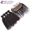 5Bundles Afro Kinky Curly Virgin Hair Lace Frontal Closure Soft Full Frontal Lace Closure 13x4 Lace Frontal Top Human Hair Weave