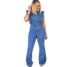 Summer new womens denim jumpsuit fashion sexy hollow backless blue ladies wood ear sleeves long trumpet
