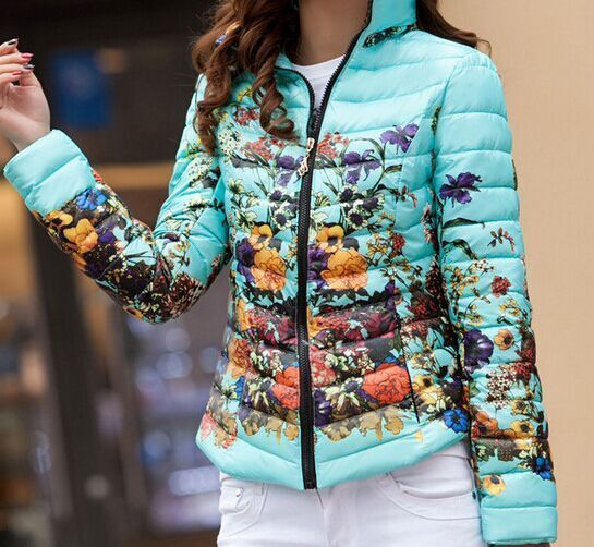 2016 New Women Floral Warm Jacket Winter Fashion Slim Cotton-padded Zipper Short Coat Female Outerwear ZP363