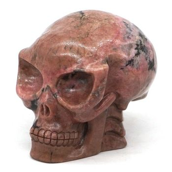 Skull Figurine Narural Pink Black Rhodonite Stone Carved Crystal Healing Decor3""
