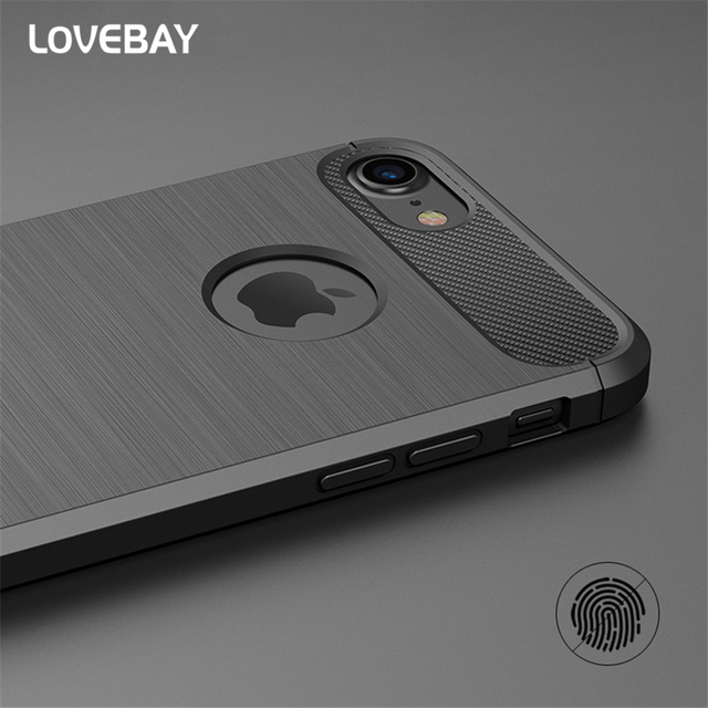 Lovebay Phone Case For iPhone X 7 7 Plus 6 6s Plus 5 5s SE Case Luxury New Carbon Fiber Soft TPU Drawing Shockproof Phone Case