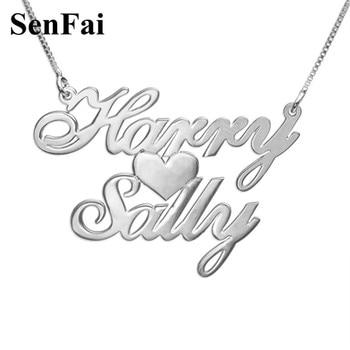8937d0cf4f2f Collar de nombre personalizado Senfai, joyería de plata 925 personalizada  para mujer, hombre, acero inoxidable, collar en capas, regalo del Día de ...