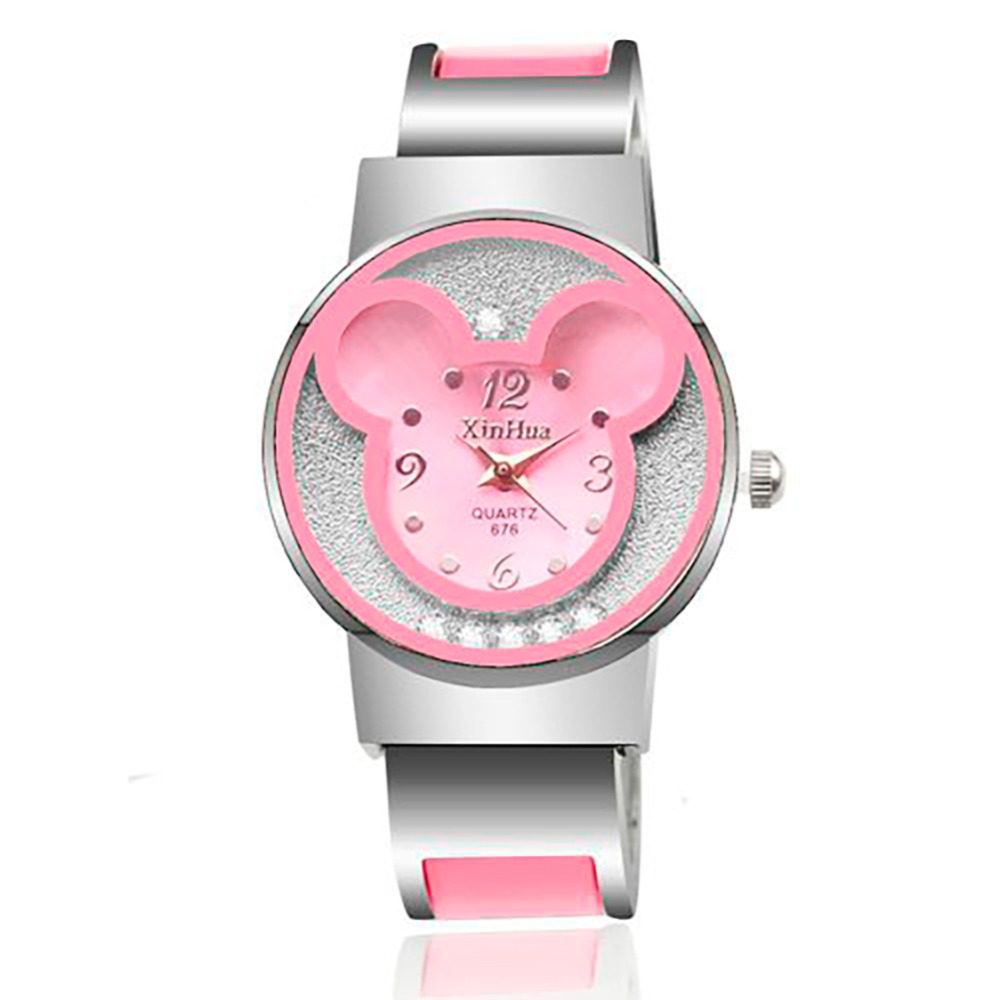 Children's Watches With Mickey Mouse Bracelet Watches Cute Rolling Rhinestone Wristwatches Casual Quartz Watch For Kid Girl Gift