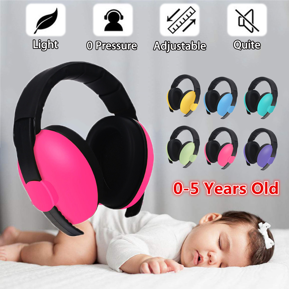 1 pcs Adjustable Baby Earmuffs Hearing Protection Ear Defenders Noise Reduction Safety for 3 Months-5 Years Old Child Baby ear muffs for sleeping