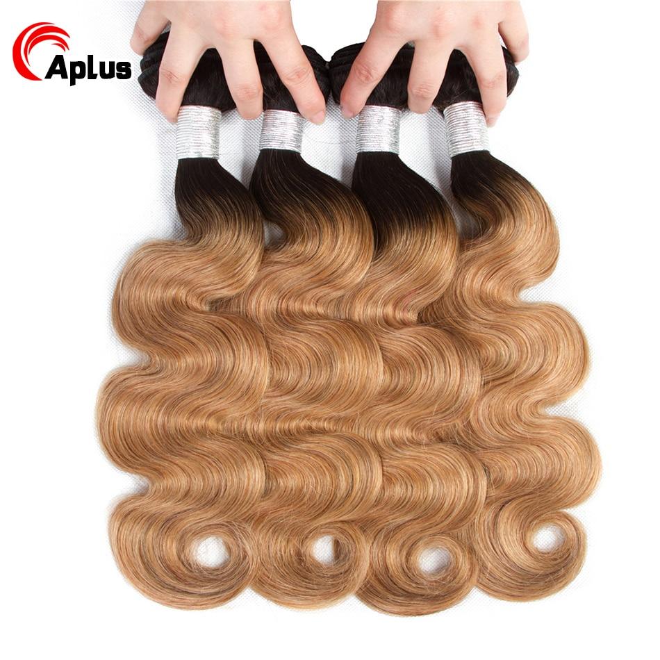 Ombre Brazilian Hair 4 Bundles 2 Tone 1b 27 /1b 30 Ombre Human Hair Weave Extensions Pre-Colored Non Remy Body Wave Bundle Deals