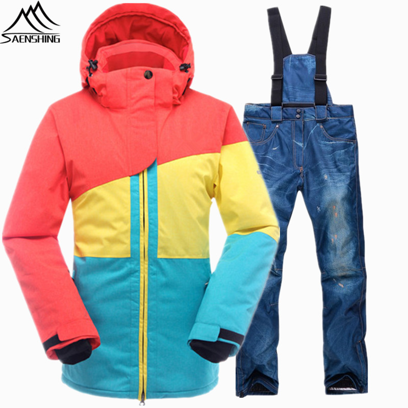 SAENSHING Ski Suit Women Waterproof Windproof Ski Jacket Snowboard Pant Thermal Outdoor Ski Skiing And Snowboarding Winter Suit brand gsou snow technology fabrics women ski suit snowboarding ski jacket women skiing jacket suit jaquetas feminina girls ski