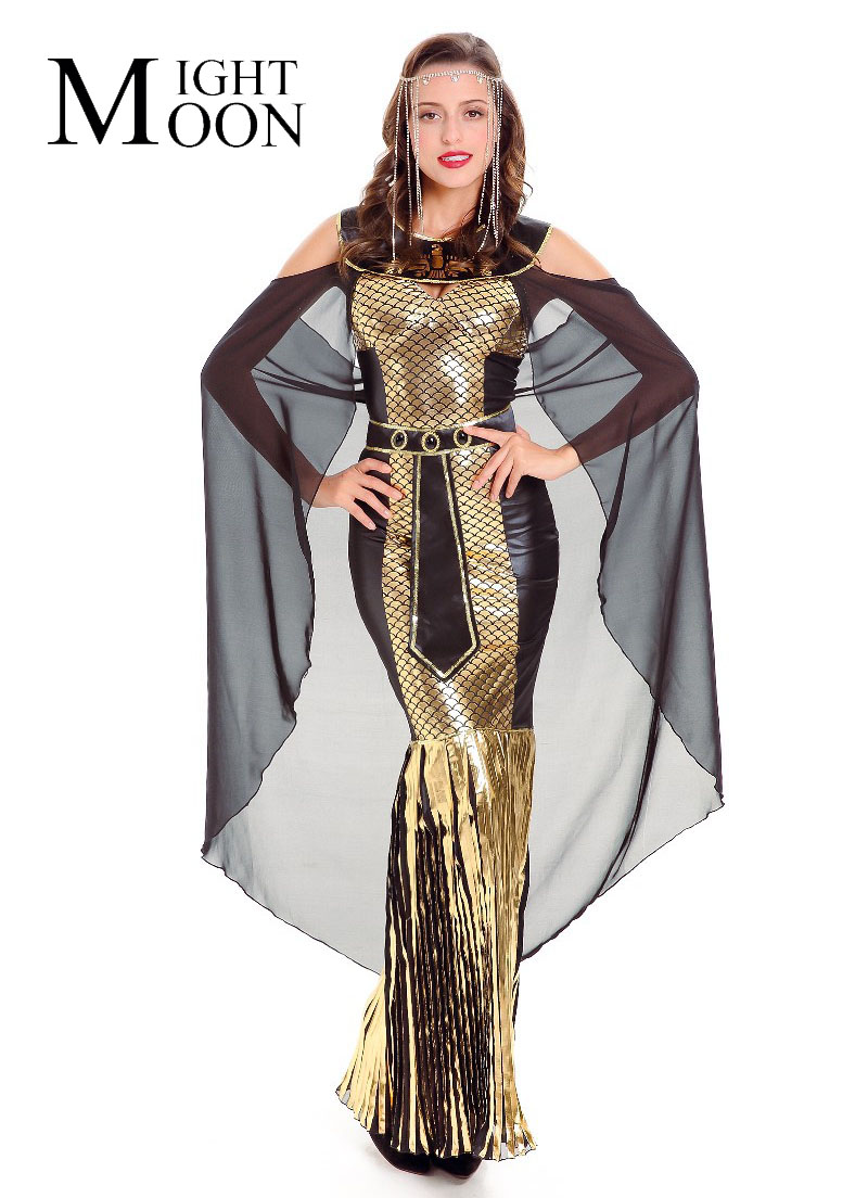 MOONIGHT Ladies Fancy Dress Cleopatra Egypt Women Costume Egyptian Goddess Costume Egypt Queen Cosplay Costume