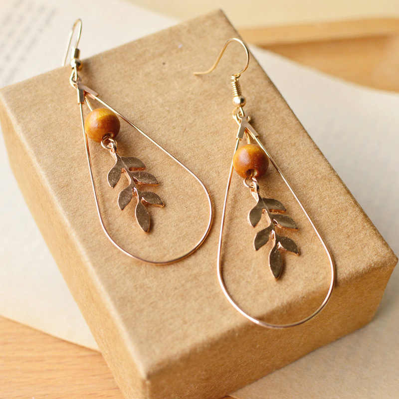 8Seasons Fashion Women Drop Earrings Gold Color Leaf Water Drop Pendants Wooden Beads Earrings Vintage Series For Girl ,1 Pair