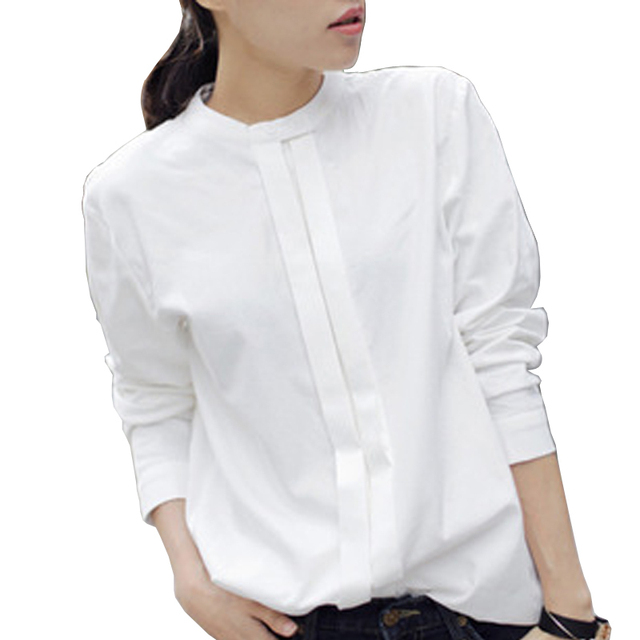 6f998bbdcafd4 Spring Autumn High Fashion White Women Shirts Blouses Office Lady Olshirts  Womens Work Blouses Plus Size S-XL Cotton Linen Tops