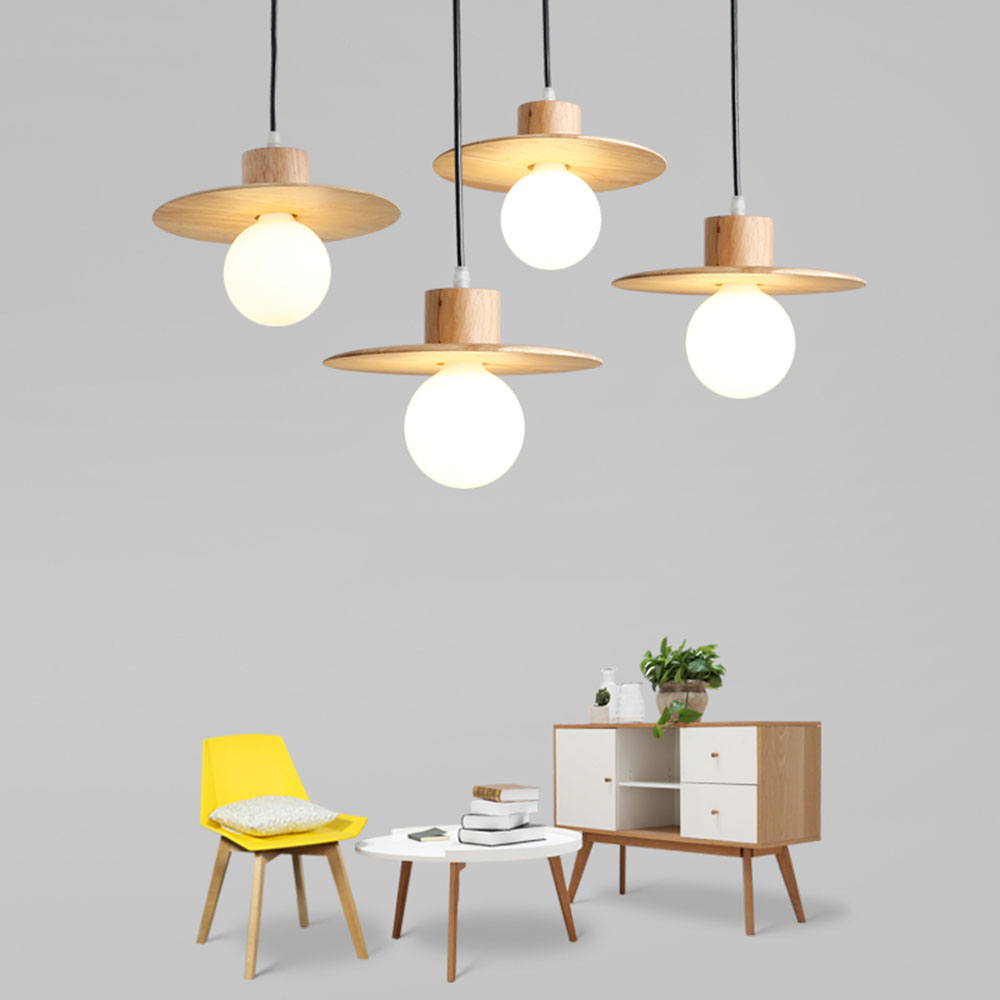 LED Nordic Style Wood  Pendent Lamp 110-220v Pendant Light for Dining Room Modern E27 Indoor Hanging Lighting Fixture Luminarias nordic wood art round ball droplight modern led pendant light fixtures for dining room bar hanging lamp indoor lighting