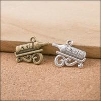 100PCS Red Wine Bottle Charms 17x22x2mm Vintage Bronze Silver Tone Alloy Jewelry Pendants DIY Bracelet Necklace