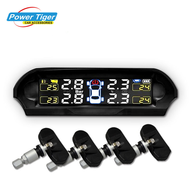 2017 Solar Power Universal Wireless Tire Pressure Monitoring System TPMS support Bar and PSI with internal sensors for car