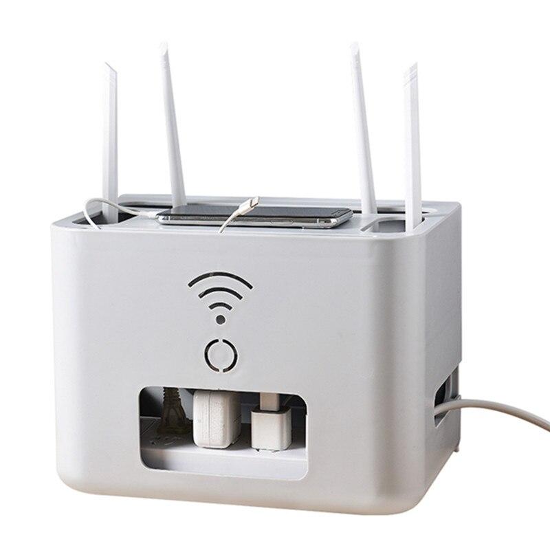 Wifi routeur sans fil boîte de rangement Double pont blanc/gris organisateur boîte en plastique USB fil organisateur stockage de haute qualité