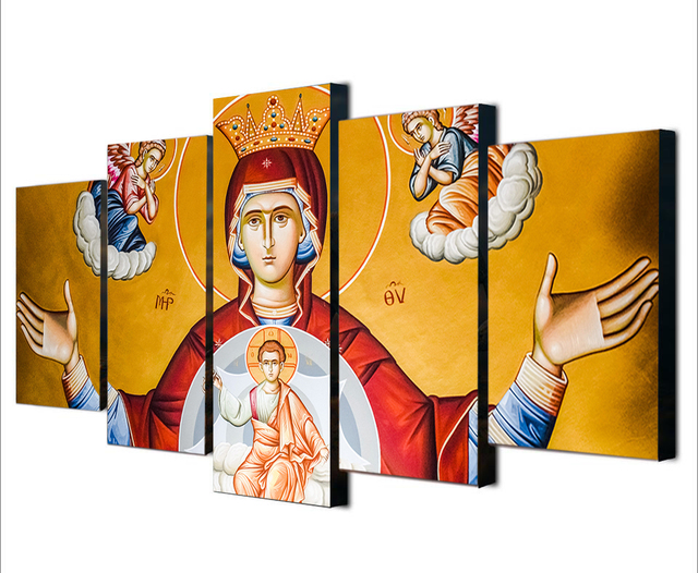 Canvas Wall Art Modular Frame religion Picture 5 Panels Jesus Chirst ...