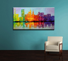Large acrylic knife paint Hand painted abstract wall art building city oil painting on canvas for wall decor living room picture