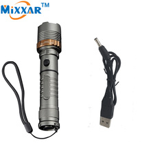 ZK10 Self Defense Tactical led Rechargeable LED flashlight Torch 4000LM Lamp Cree XM-L T6 Lantern Outdoor with USB charger cable