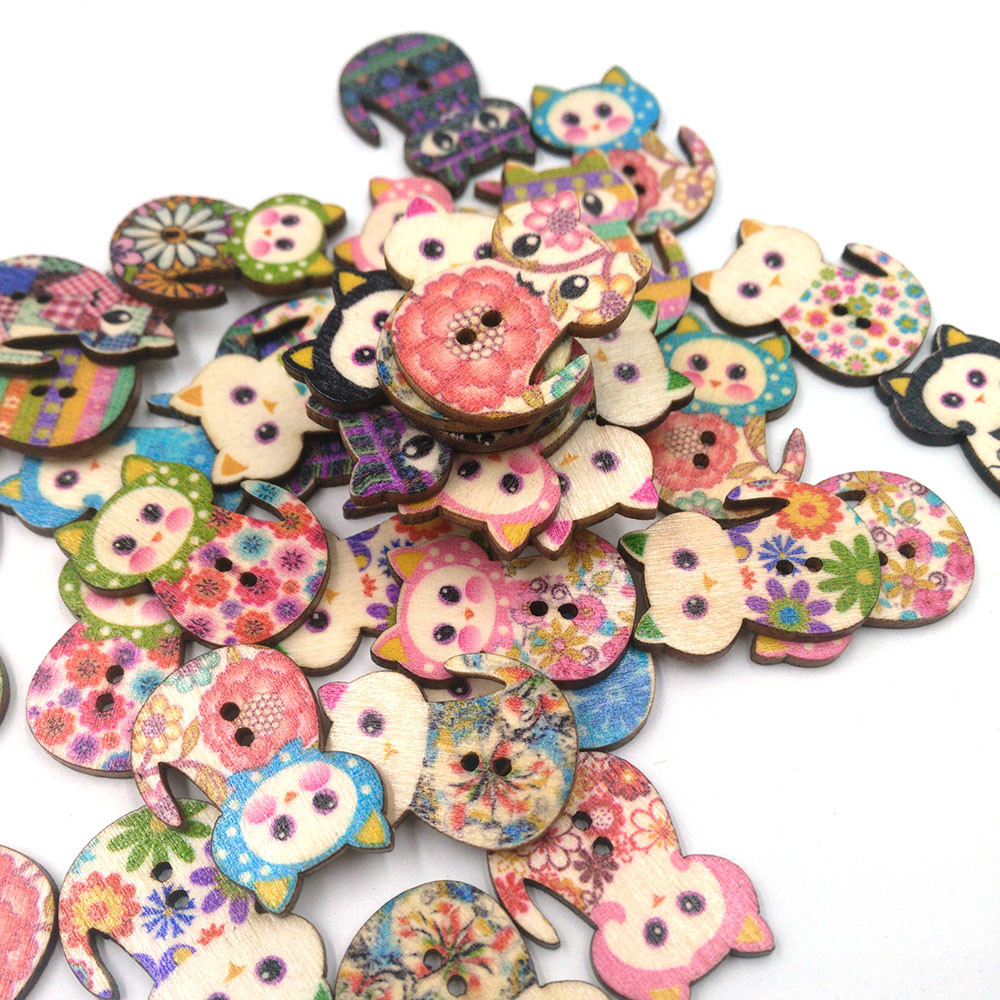 buttons for crafts decorative 50pcs Mixed Cat 2 Holes Wooden Buttons Sewing Scrapbooking Crafts a804 19