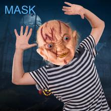 Halloween Ghosts Grimace Horror Mask Mask with Hair Scars Cruel Party Role-playing Party Props