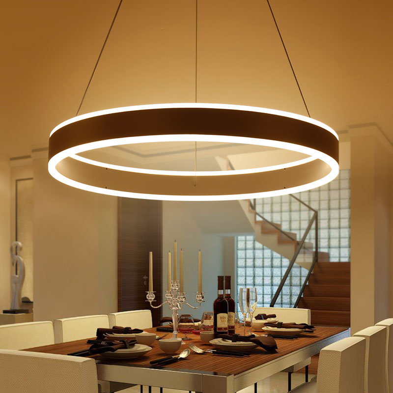 New Circel Rings Up Down Modern LED Pendant Lights Round Hanging Lamp For Dining Room Living Aluminum Lustre In From