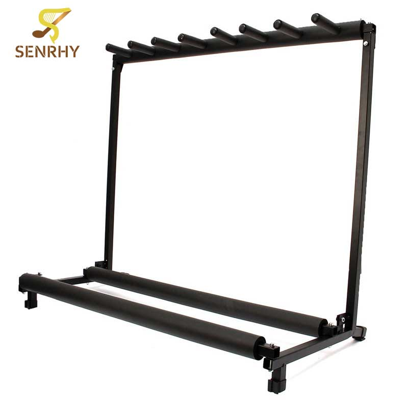 Senrhy 7 Way Multi Guitar Stand Foldable Rack Storage Electric Acoustic Bass Guitar Bracket For Musical Instrumrnts Parts two way regulating lever acoustic classical electric guitar neck truss rod adjustment core guitar parts