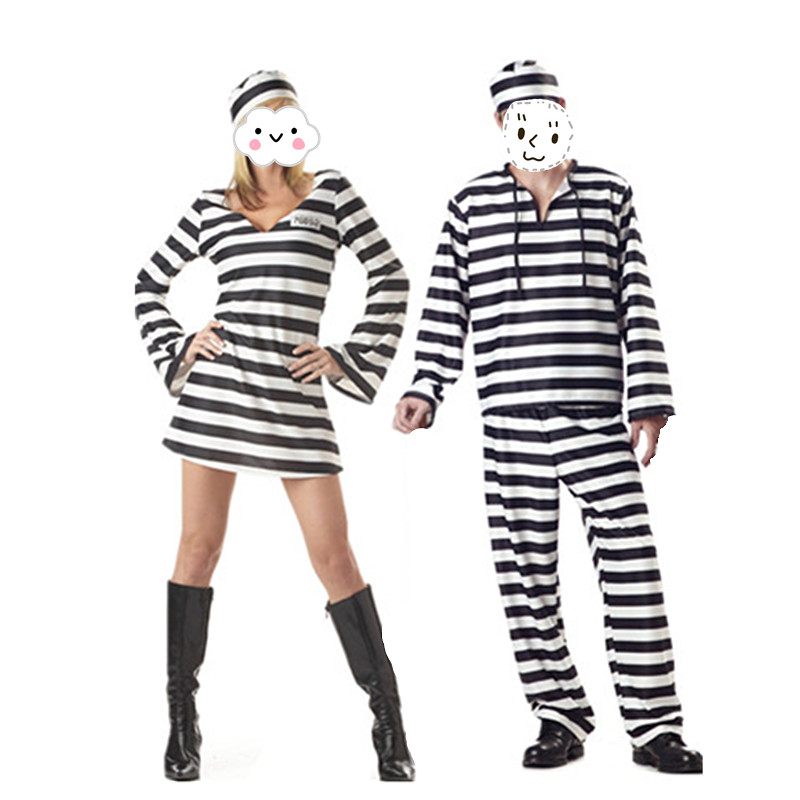 New Arrival Convict Criminal Zombie Black White Men And Women Couples Entire Prisoner Costume Zombie Halloween Party Cosplay